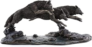 Top Collection Grey Wolves on The Run Replica Statue- Wolf Sculpture Designed by Jody Bergsma in Premium Cold Cast Bronze - 14-Inch Long Collectible Canine Dog Wild Life Animal Figurine