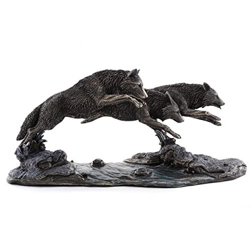 Top Collection Grey Wolves on The Run Replica Statue- Wolf Sculpture Designed by Jody Bergsma in Premium Cold Cast Bronze – 14-Inch Long Collectible Canine Dog Wild Life Animal Figurine