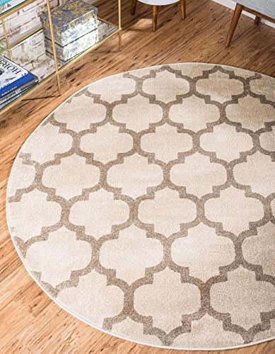 Unique Loom Trellis Collection Moroccan Lattice Beige Tan Round Rug 6 0 x 6 0