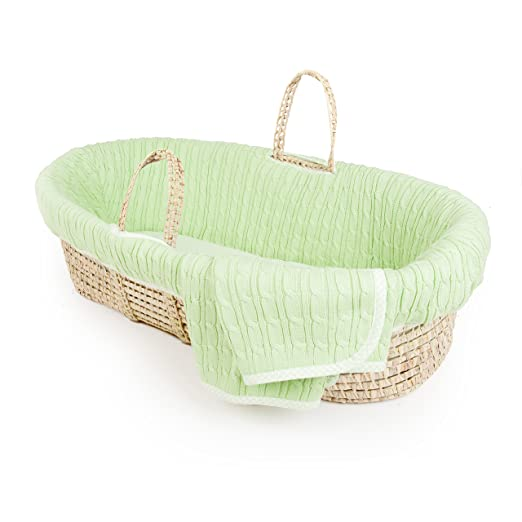 Tadpoles Cable Knit Moses Basket and Bedding Set, Green