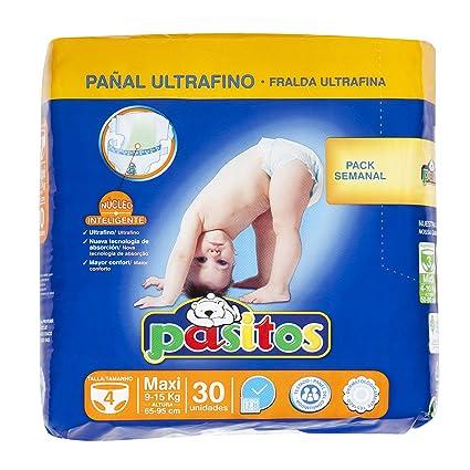 Pasitos - Pañales para bebés - Talla 4, 9-15 kg - 30 unidades
