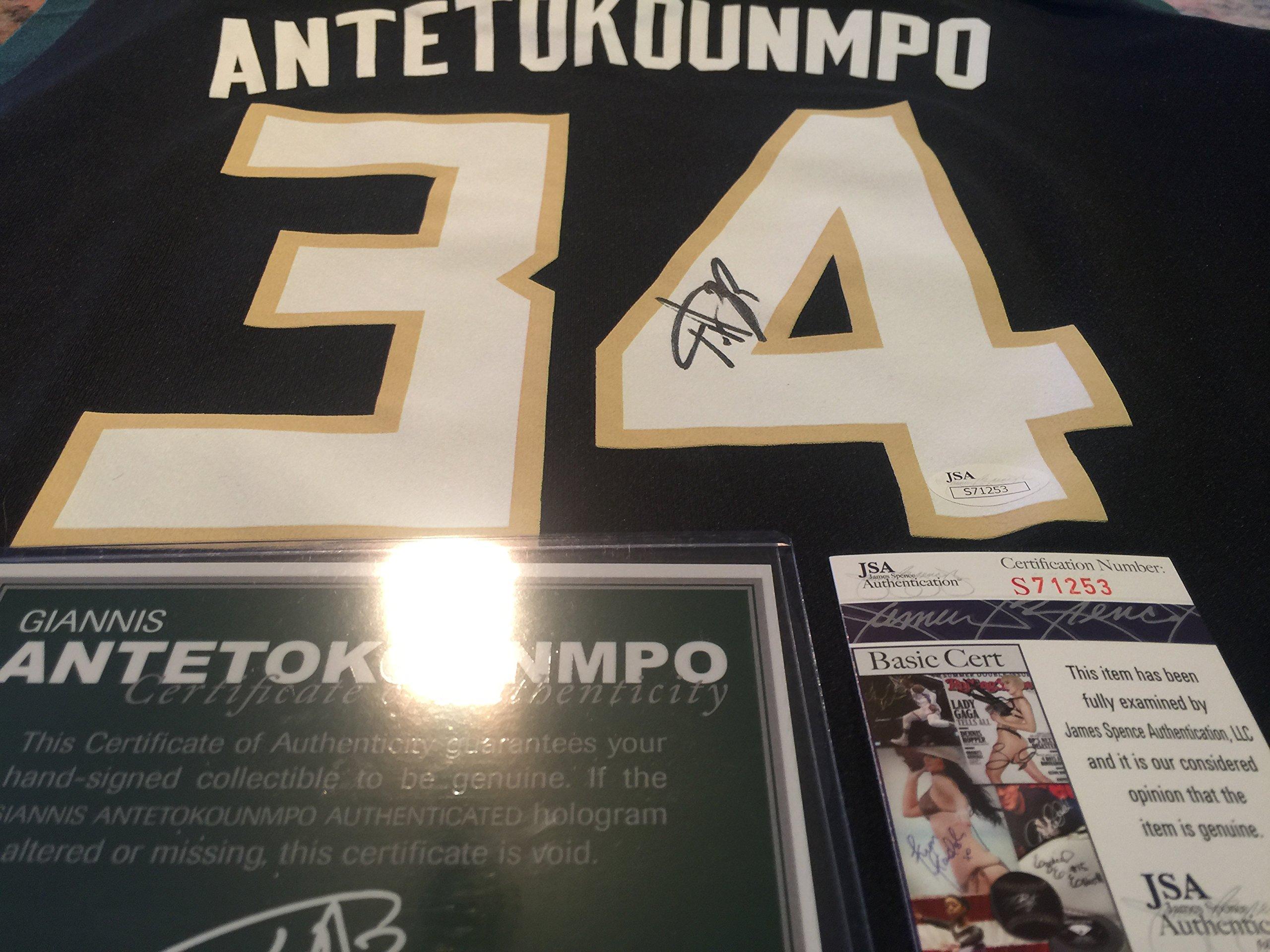 Giannis Antetokounmpo Signed Autographed Jersey JSA Certified Autographed NBA Jersey by Giannis Antetokounmpo