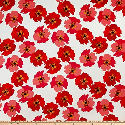 22ee354ad03 Amazon.com  Telio Picasso Rayon Poplin Poppy Floral Print White Red ...