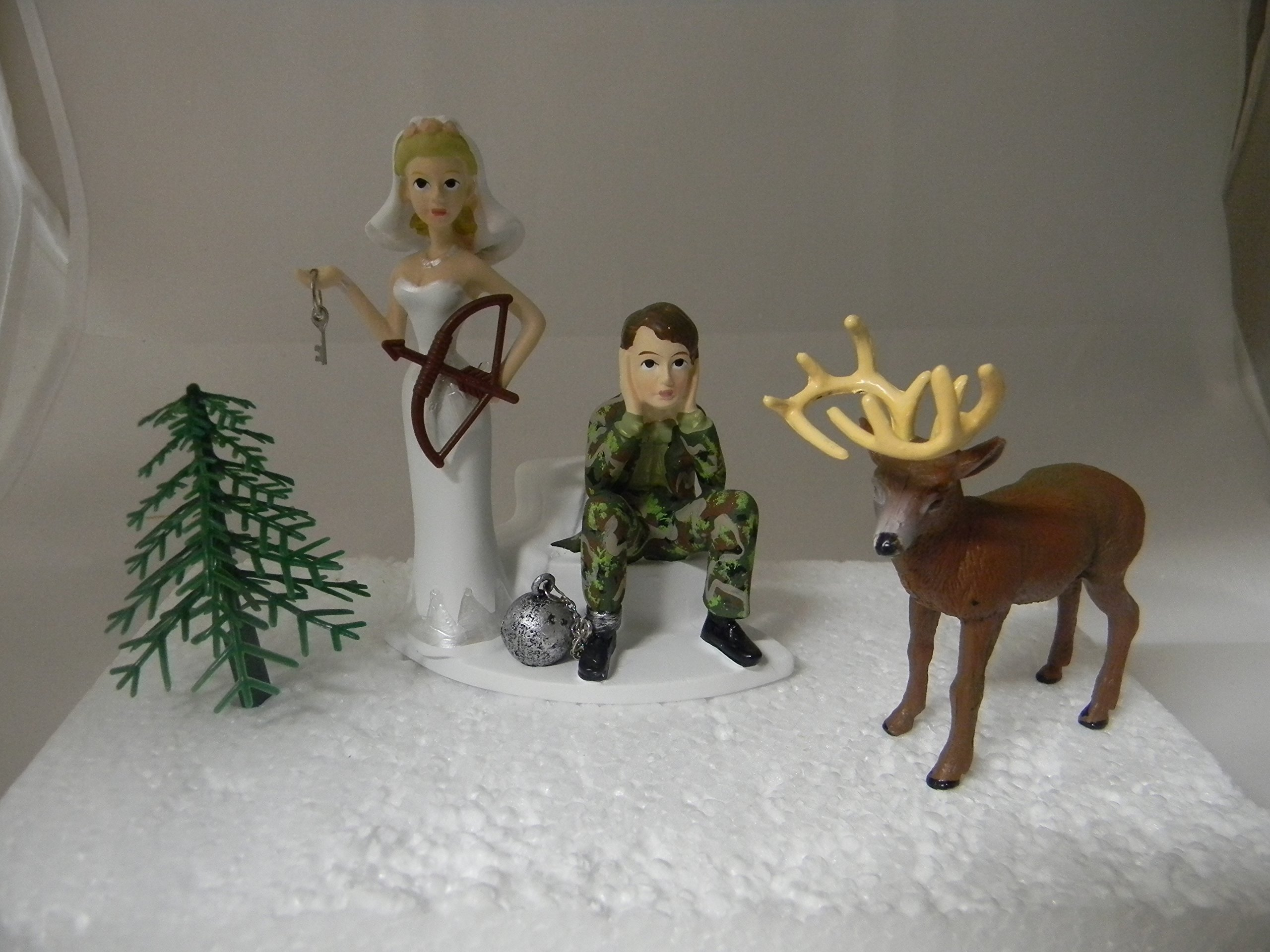 Wedding Party Reception Ball & Chain Camo Deer Bow Hunter Hunting Cake Topper