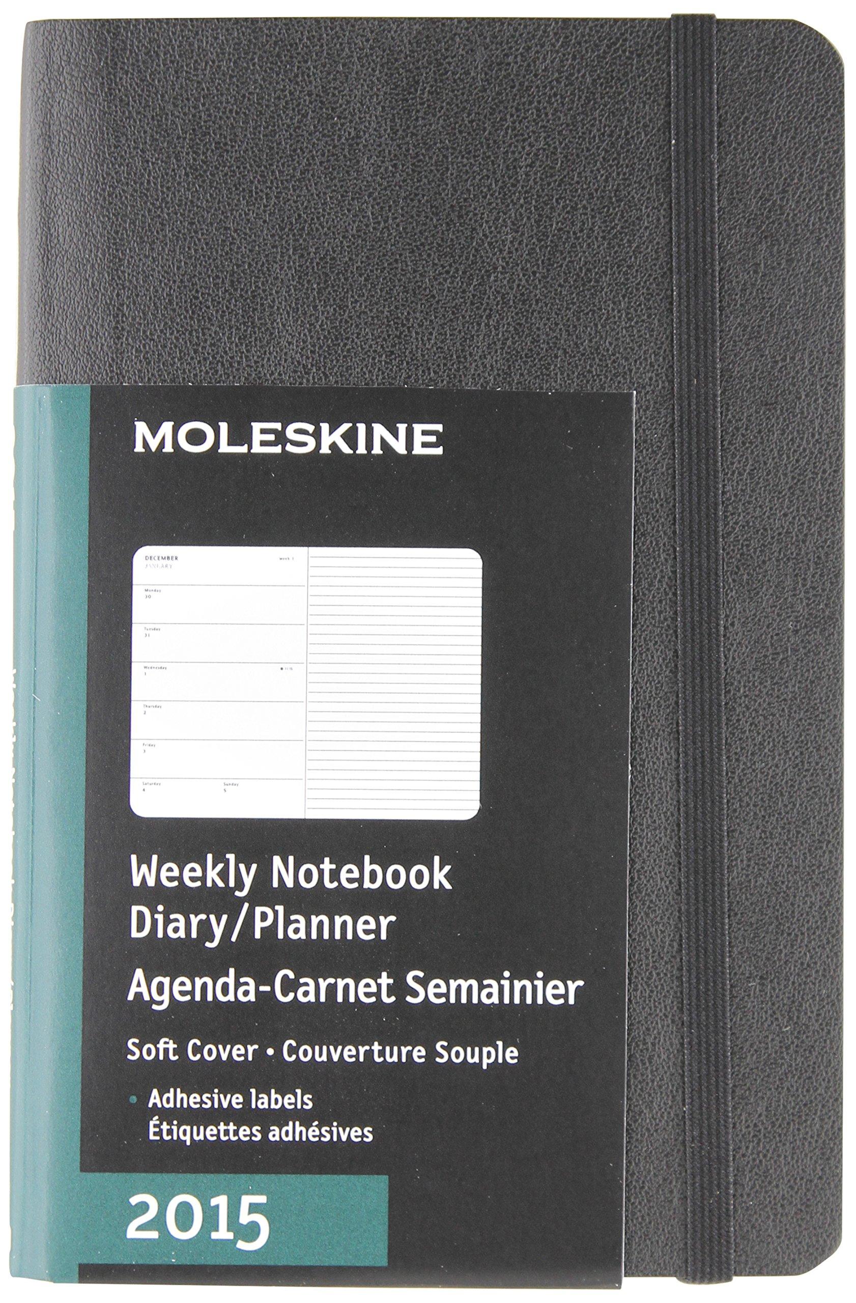 moleskine 2015 weekly planner 12 month pocket black soft cover