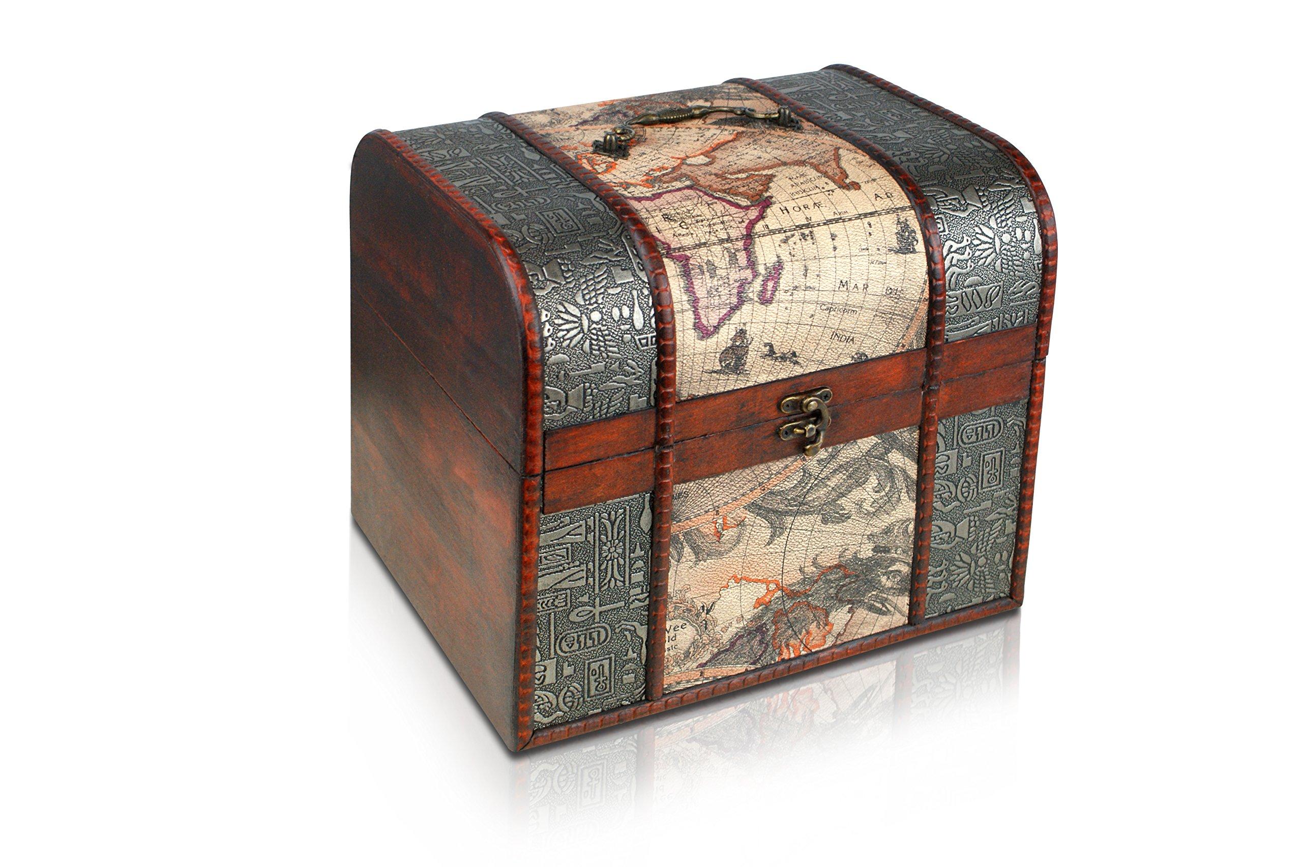 Brynnberg - Caja de Madera Cofre del Tesoro Pirata de Estilo Vintage, Hecha a Mano