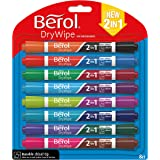 Berol Dry Wipe Dual Ended Chisel Tip Whiteboard Marker - Assorted Colours (Pack of 8)