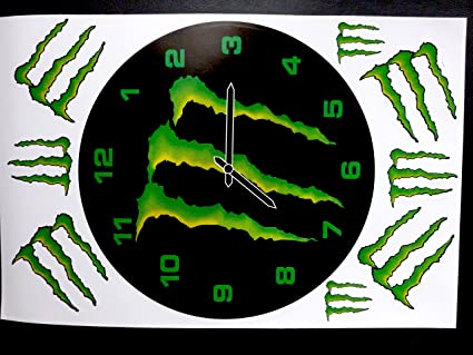 Pack Of 9 Stickers Monster Energy Clock 27x17 Cm Central