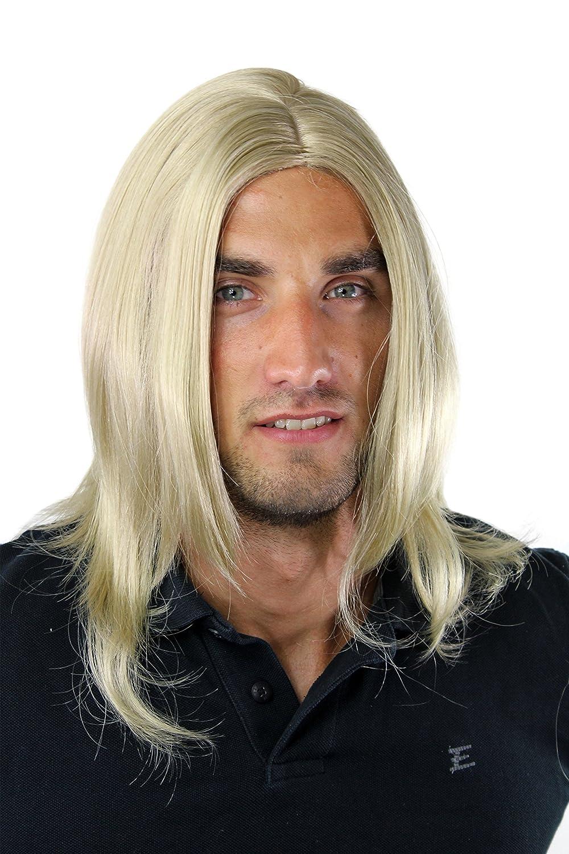 WIG ME UP ® - Peluca masculina, pelo largo, juvenil, moderno, rubio, rubio oscuro, con raya al medio GFW891-24 VK Event Fashion GFW891-24(B83)