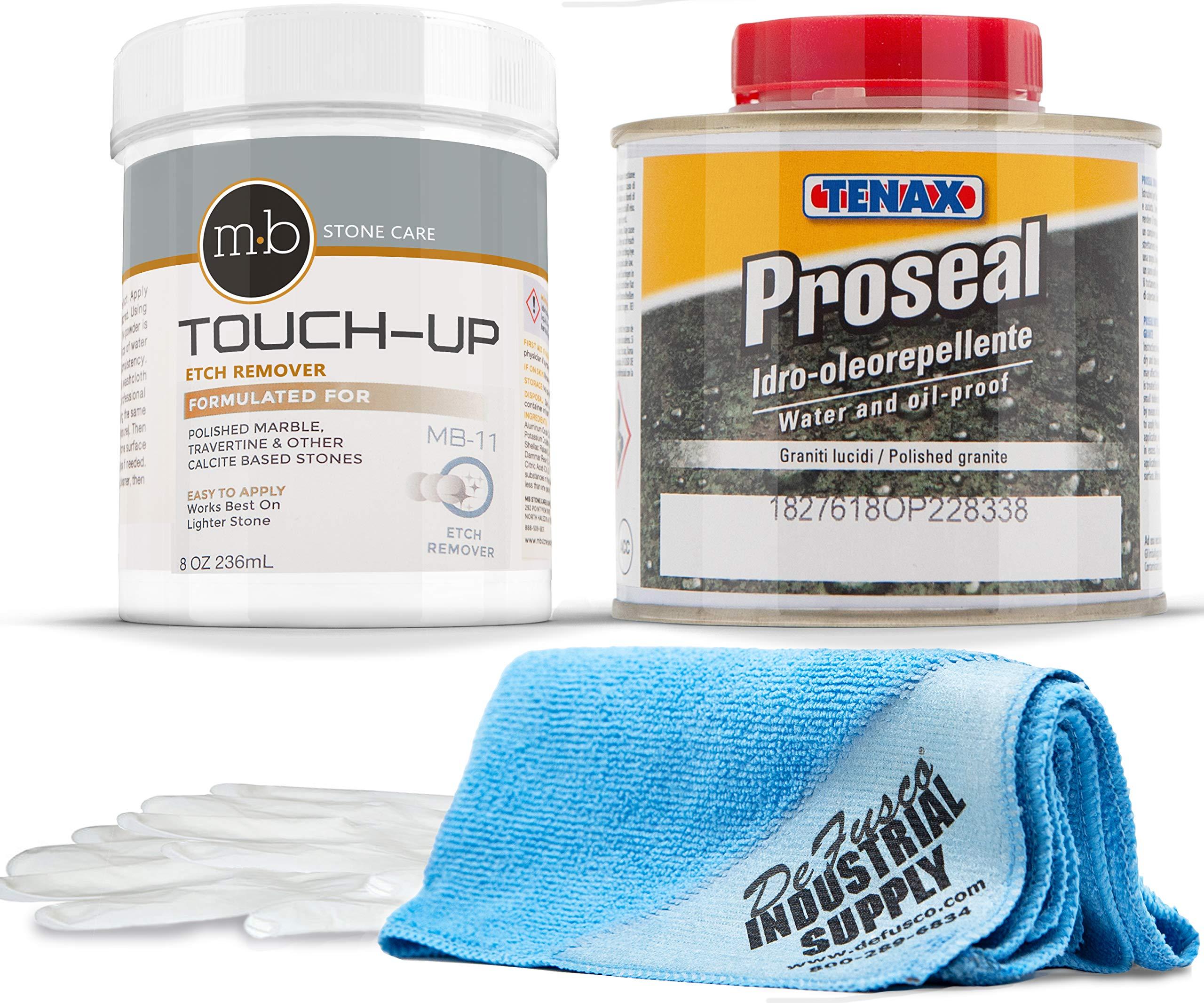 Marble Polish Powder - MB-11 oz Marble Polishing Powder- Tenax Proseal 250 mL -16x16 Microfiber Cloth - Gloves - BUNDLE - 4 Items