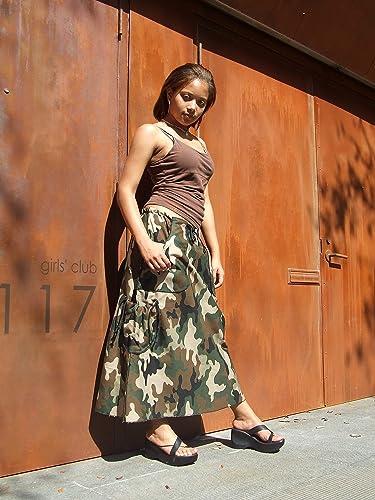 47cdf8540b Amazon.com: Long A-Line Camo Skirt: Handmade