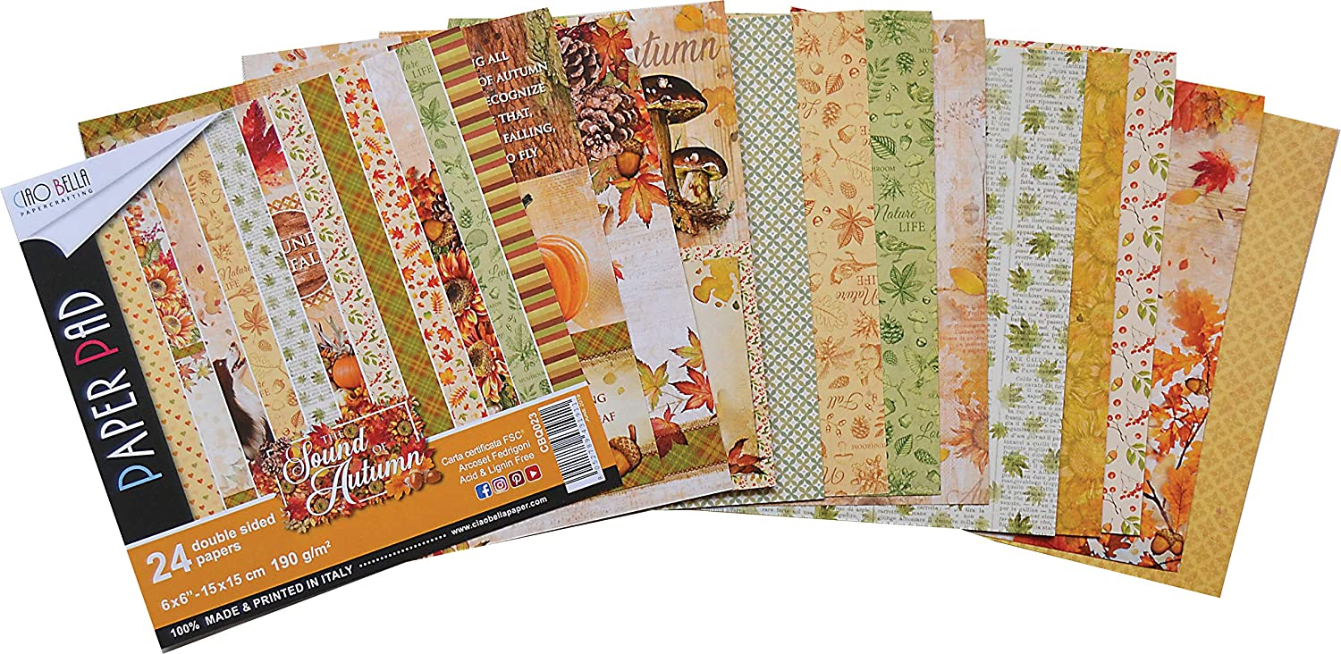 """Ciao Bella Double-sided Paper Pack 90lb 6/""""x6/"""" 24//pkg-time For Home 12"""