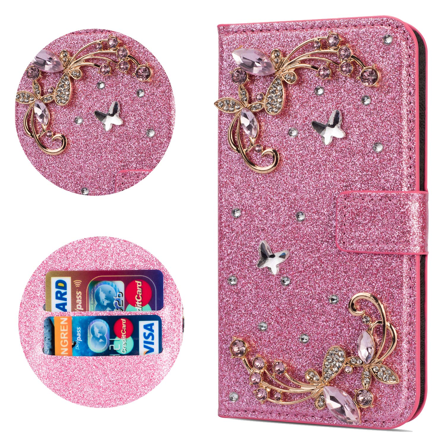 Stysen Flip Case for iPhone 6S 4.7'',Leather Cover with 3D Handmade Crystal Diamonds Butterfly Glitter Floral Wallet Magnetic Clasp for iPhone 6S/6 4.7'' by Stysen