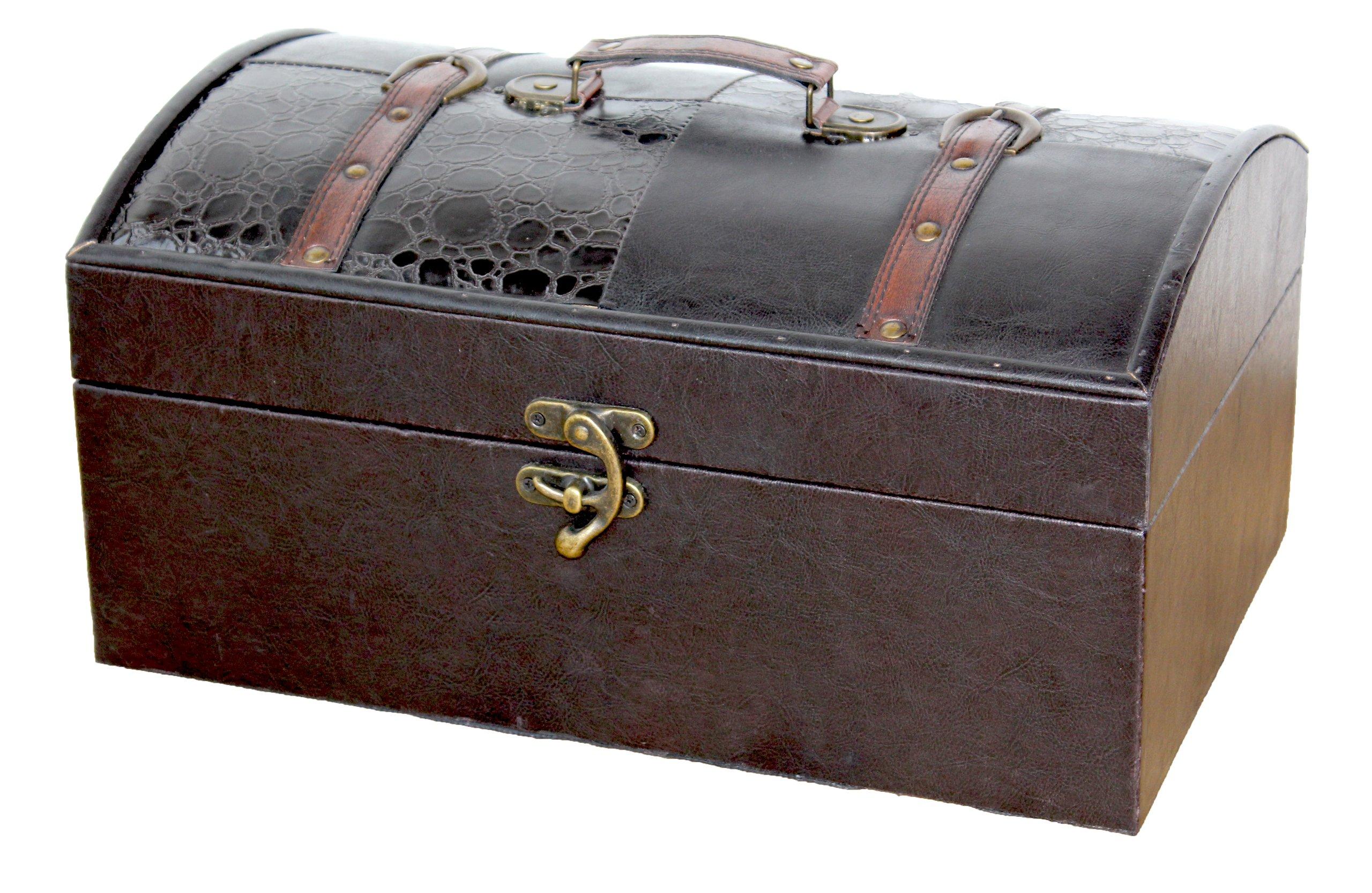 Leather Trunk, Designer Treasure Chest (Royal, Large)