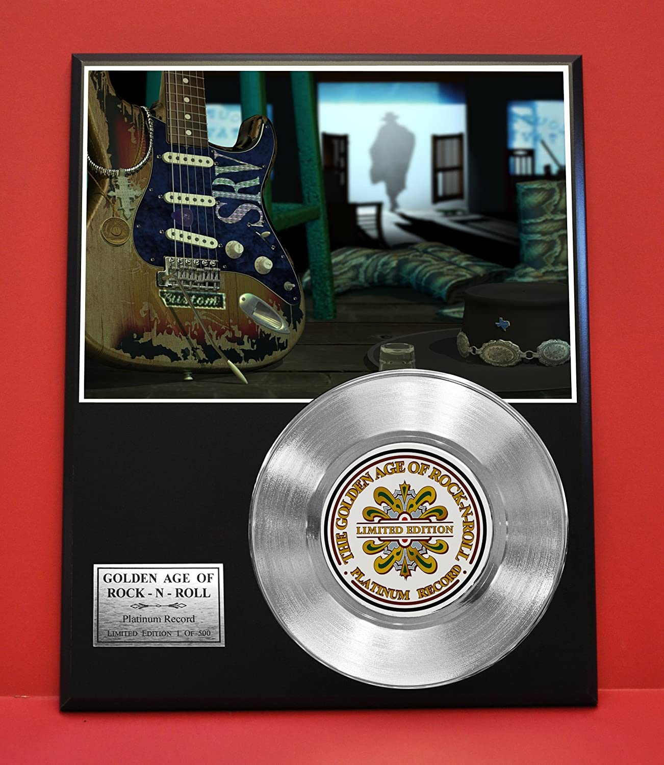 Stevie Ray Vaughn LTD Edition Non Riaa Platinum Record Display - Award Quality Music Memorabilia Wall Art - Gold Record Outlet