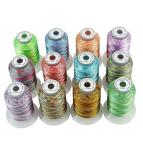 New brothread 12 Multi Colores 500M(550Y) Poliéster Bordado Máquina Hilo para Brother Babylock