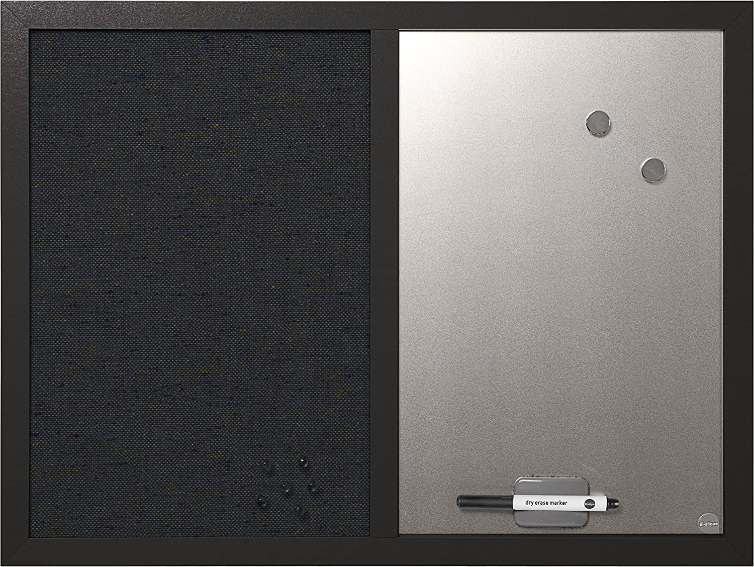 """MasterVision Combo Dry Erase Whiteboard and Grey Fabric Bulletin Board, 18"""" x 24"""", Black Frame (MX04433168)"""