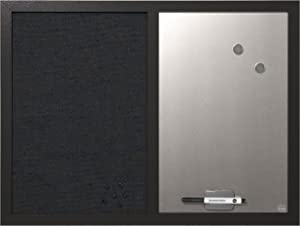"MasterVision Combo Dry Erase Whiteboard and Grey Fabric Bulletin Board, 18"" x 24"", Black Frame (MX04433168)"