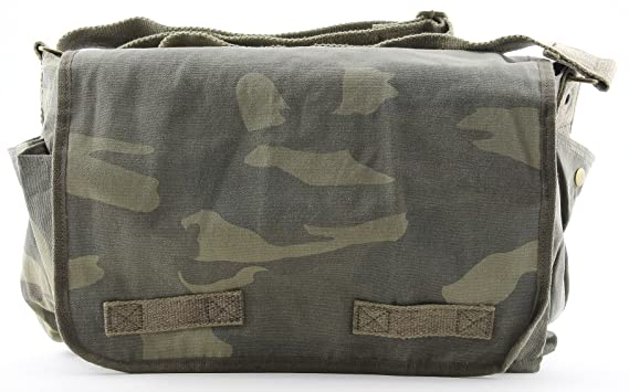 Woodland Camouflage Mini Messenger Bag Heavyweight Cotton Canvas Shoulder  Bag with official Army Universe Pin 1b8e00e3359
