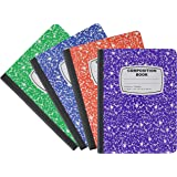 Emraw Marble Style Colored Cover Composition Book with 100 Sheets of Wide Ruled White Paper - Set Colors: Red, Green, Purple, Blue, Marble Covers (3 Random Pack)
