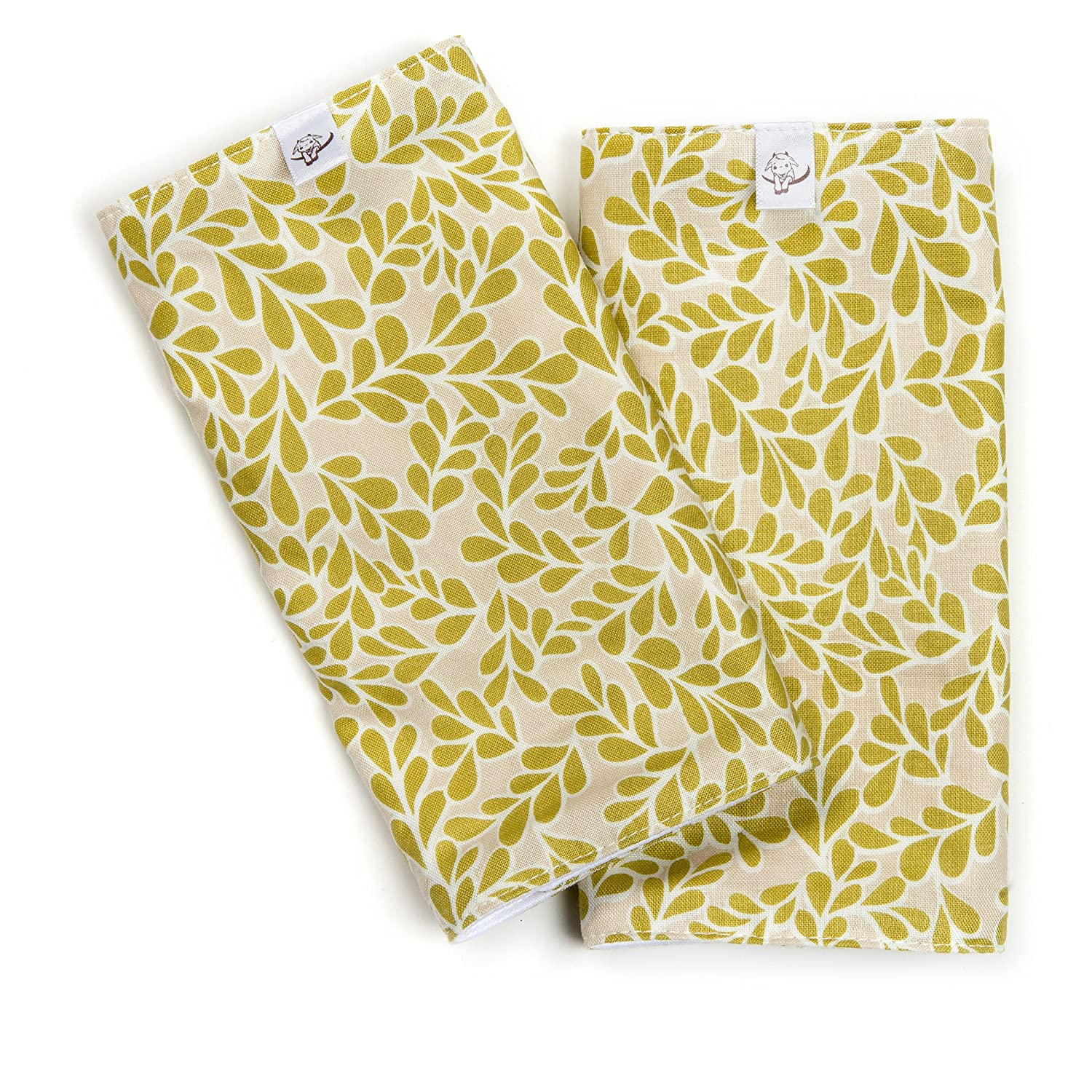 Little Goat Organic Cotton Teething Pads Chartreuse Boxwood