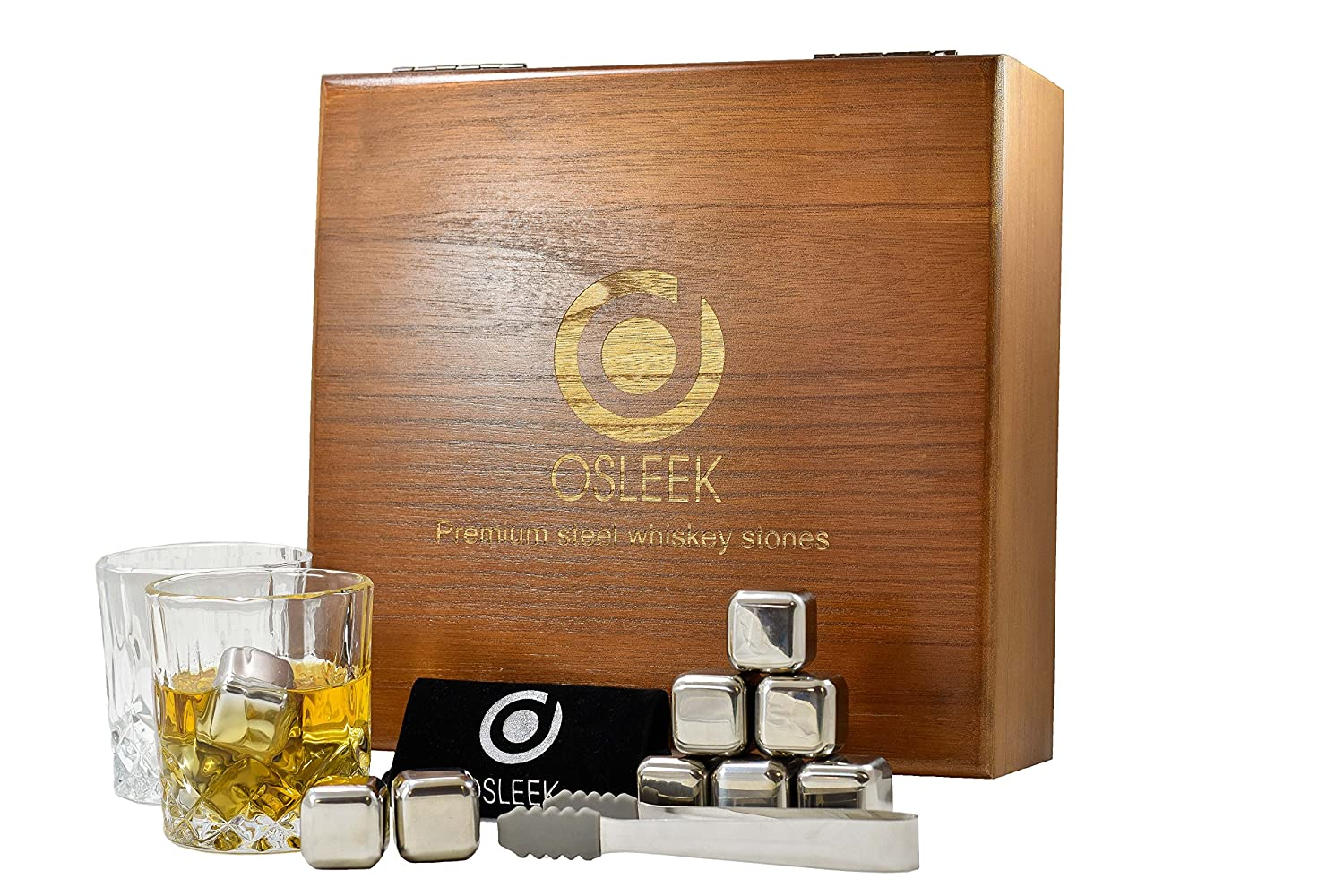 Whiskey Stones - Gift Set of 8 Stainless Steel Chilling Rocks, 2 Large Glasses, Tong, Velvet Freezing Bag And Luxury Wood Handmade Display Box | Osleek Business Class Edition