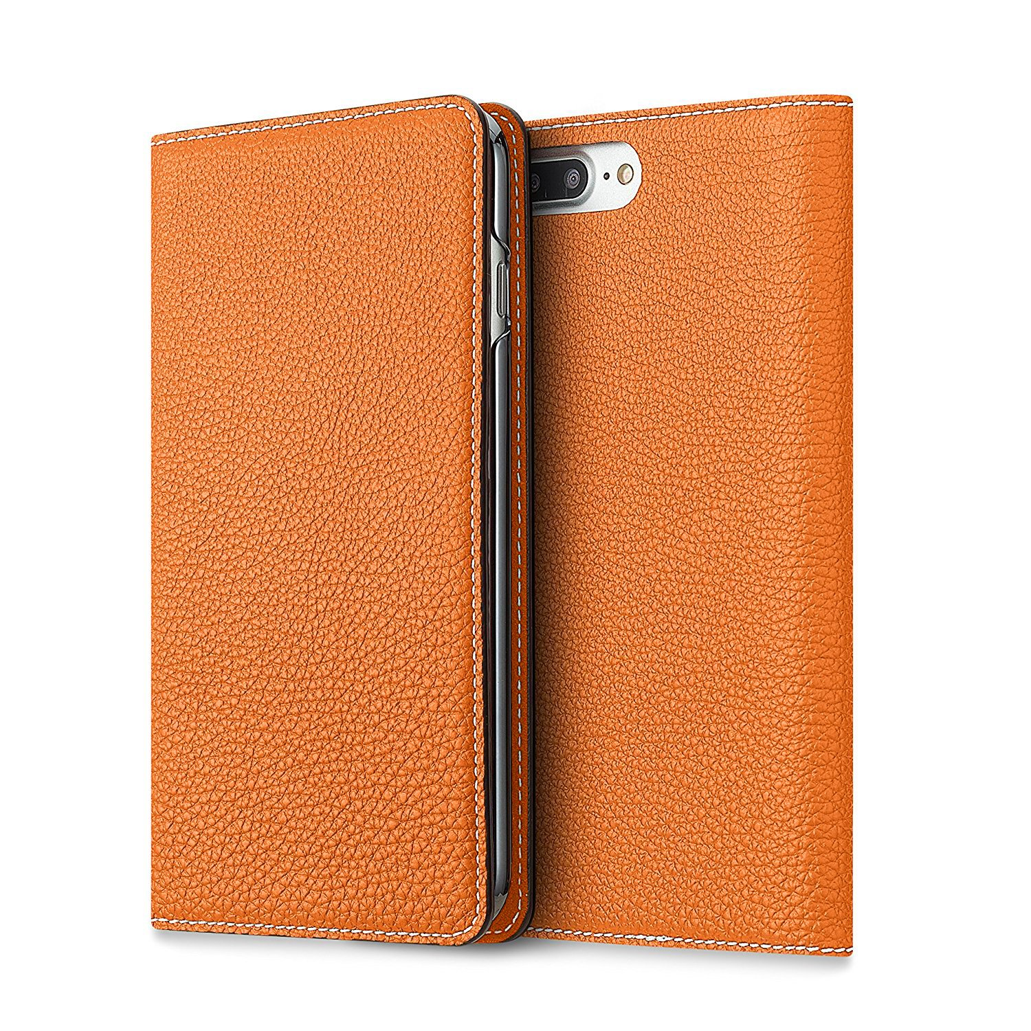 [WINTER SALE 30%OFF] BONAVENTURA iPhone 7 Plus / 8 Plus Leather Flip Wallet Case (Full-Grain Perlinger Leather from Germany) [iPhone 7 Plus / 8 Plus | ORANGE]