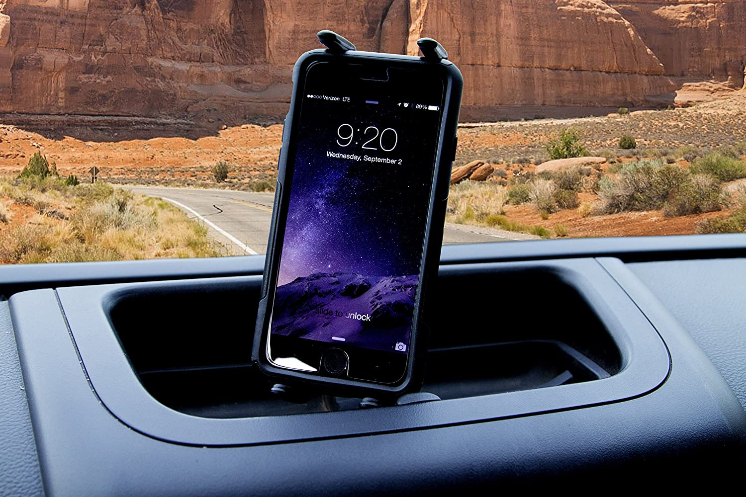 Jeep JK Wrangler Upper Dash Panel with holder for Large I Phone and I Phone Plus; Mini Pad; Cradle; Black Made in America fits 2011 to 2017 2//4WD Daystar KJ71057BK