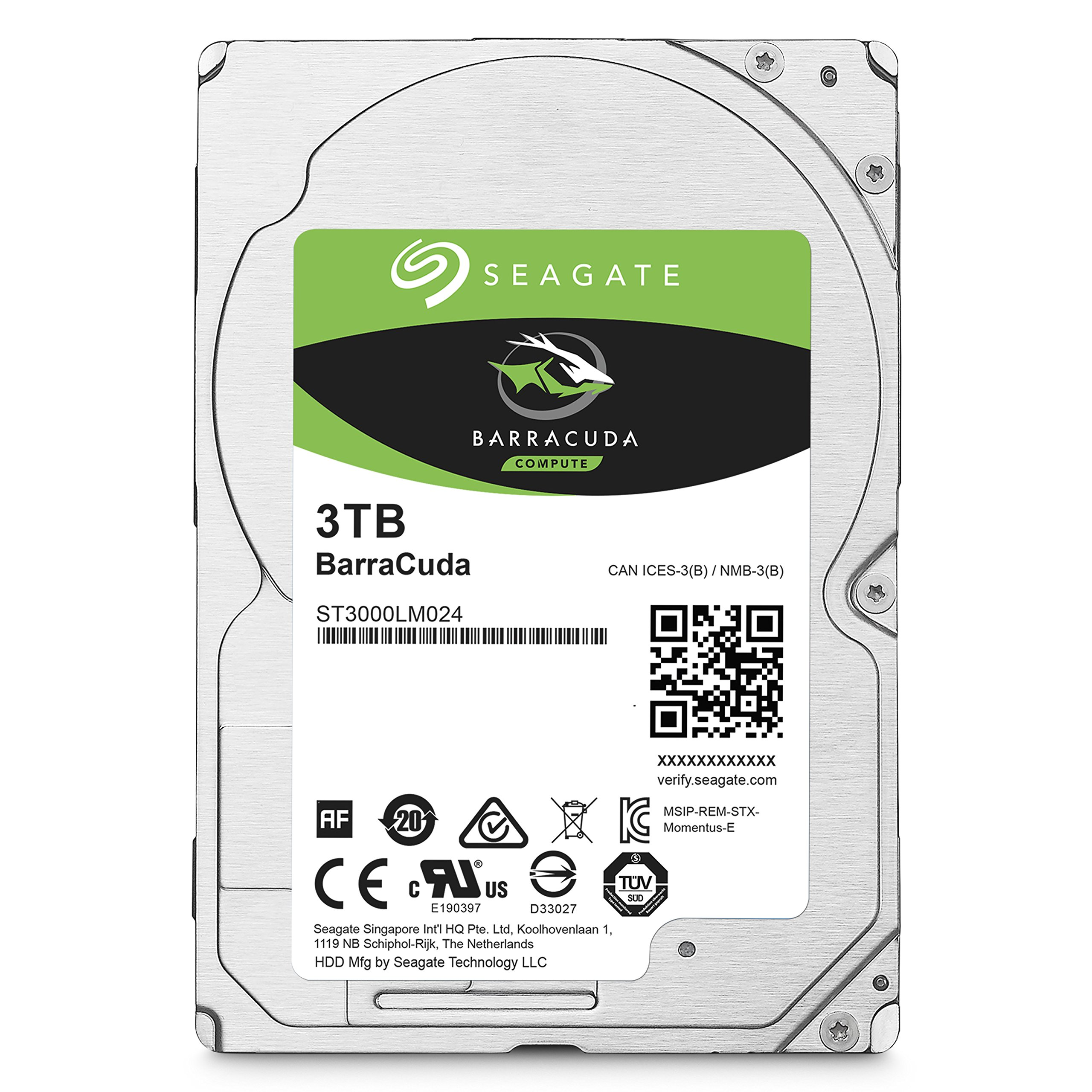 Seagate BarraCuda Mobile Hard Drive 3TB SATA 6Gb/s 128MB Cache 2.5-Inch 7mm (ST3000LM024)