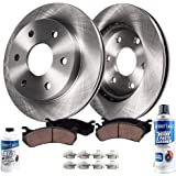 Detroit Axle - 6 LUG Front Rotors w/Ceramic Brake Pads w/Hardware Kit Cleaner & Fluid for 2010 2011 2012 2013 2014 2015…