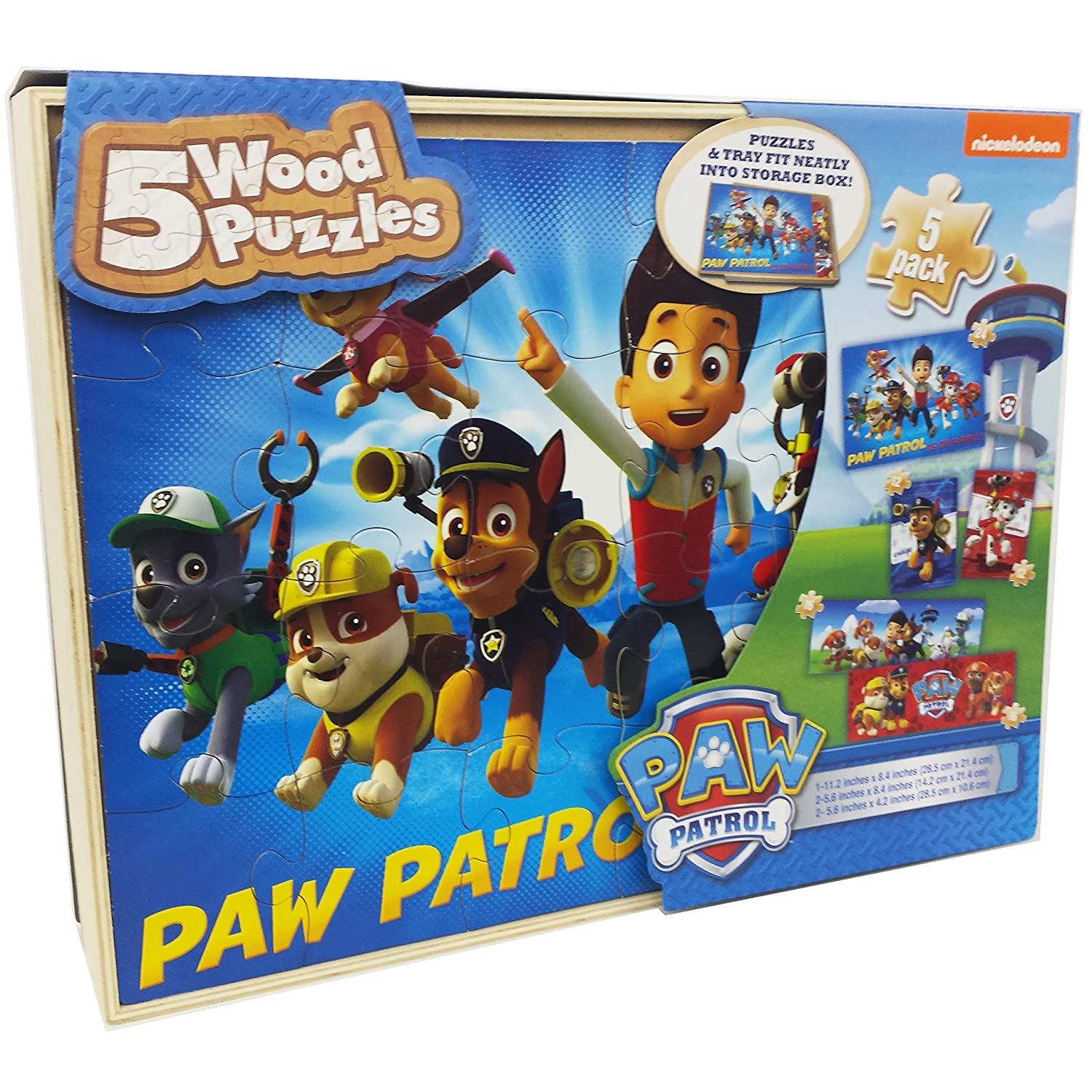 Paw Patrol Toy Organizer Bin Cubby Kids Child Storage Box: Paw Patrol 5 Wood Puzzles Assembly Toy Kids Gift Play Set