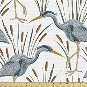 Lunarable Swamp Fabric by The Yard, Blue Grey Heron Birds and Bulrush Water Foliage Growth Wilderness Tropical Lands, Decorative Fabric for Upholstery and Home Accents, 2 Yards, Blue Amber
