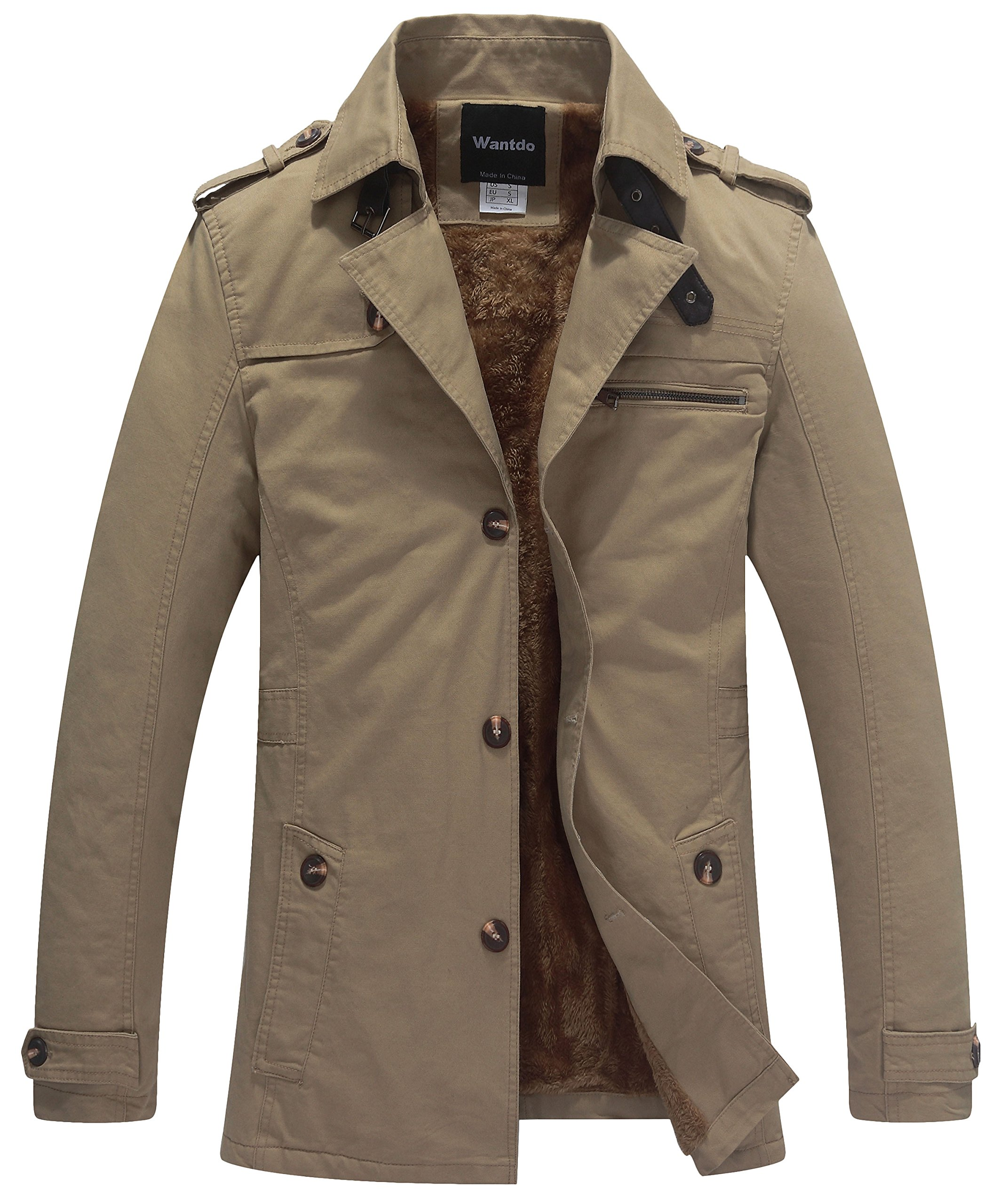 Wantdo Men's Casual Winter Thicken Jacket (Khaki 1, Small) by Wantdo