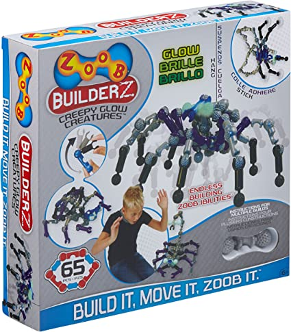 Zoobs BuilderZ 65 Pcs Construction Set. Creepy Glow Creatures