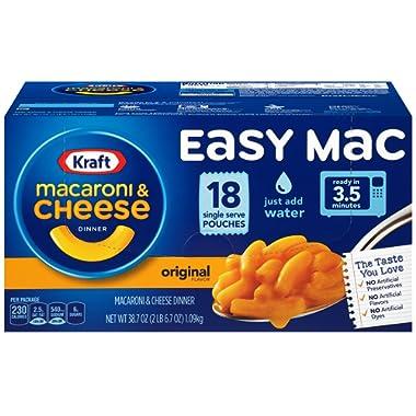 Kraft Easy Mac Original Macaroni and Cheese Dinner 18 Microwaveable Single Serve Packets