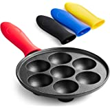 Klee Pre-Seasoned Cast Iron Aebleskiver Pan with 4 Silicone Handle Covers