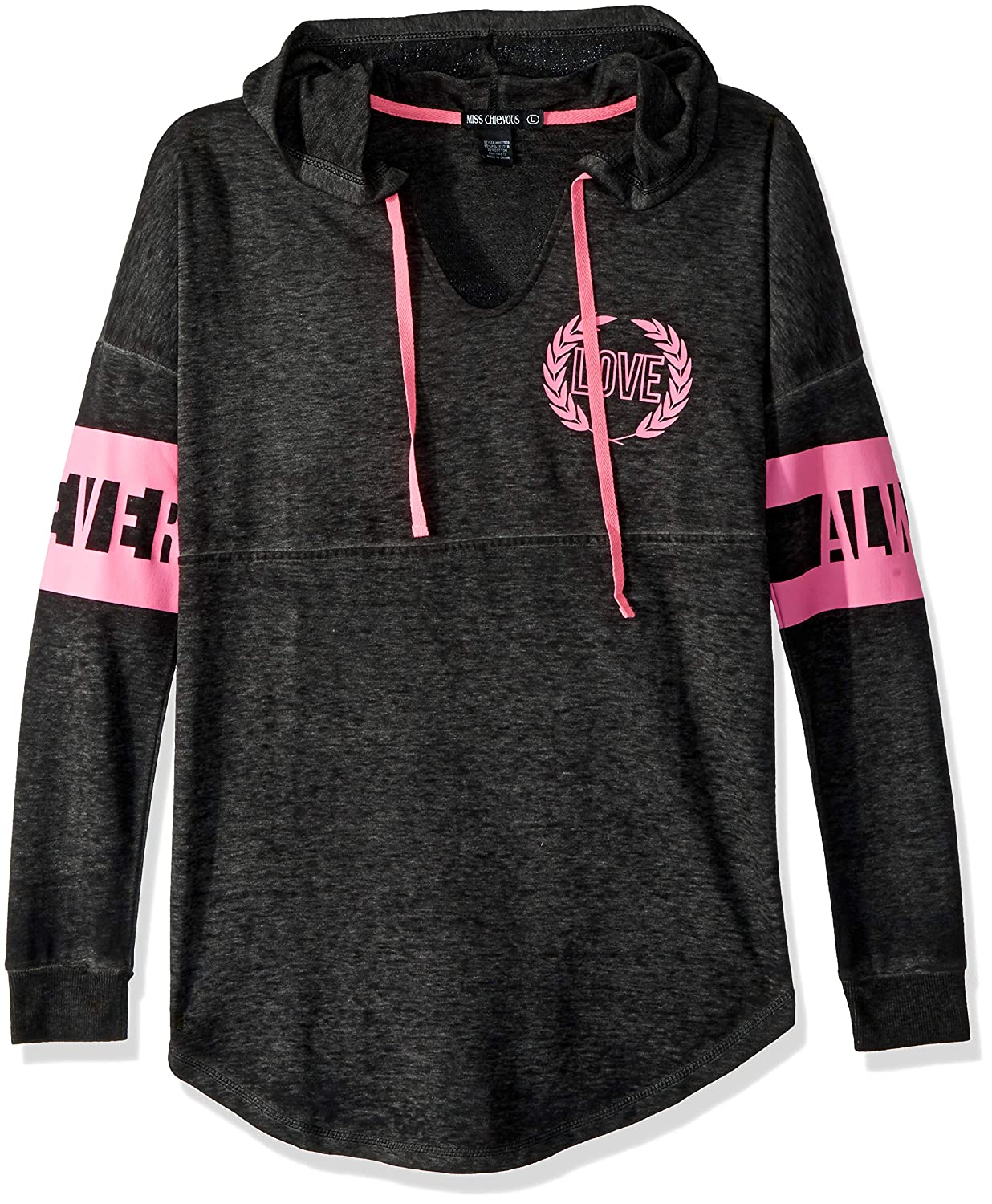 Miss Chievous Women's Long Sleeve Burnwash Notch Neck Hoodie with Pink Twill Pulls SS Black JA9827B38
