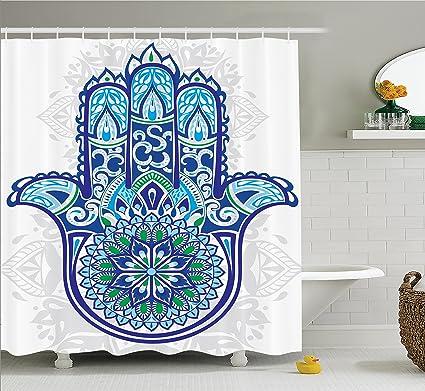 Incroyable Ambesonne Hamsa Decor Shower Curtain Set, Large Hamsa Hand With Ethnic  Asian Ornamental Flower And