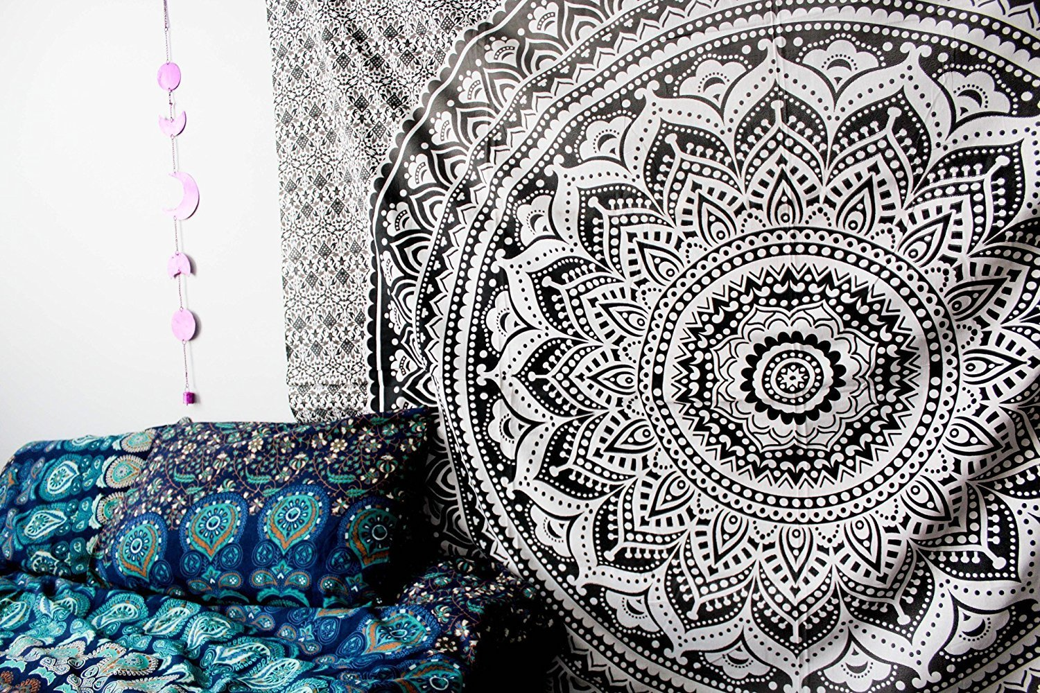 Popular Handicrafts Large Tapestry wall hangings Hippy Ombre Mandala Bohemian Tapestries, Indian Dorm Decor, Psychedelic Tapestry Wall Hanging Ethnic Decorative Tapestry (84x90 inches) (Black grey)