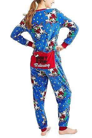 f242b14c13 Secret Treasures Womens Christmas Holiday Santa Unicorn Dropseat Pajama  Union Suit One Piece Sleepwear (Santa
