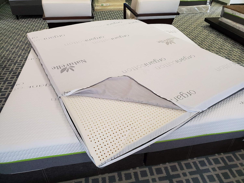 Queen 59.5x 79.5, Extra Firm 3 100/% Organic Latex Mattress Topper