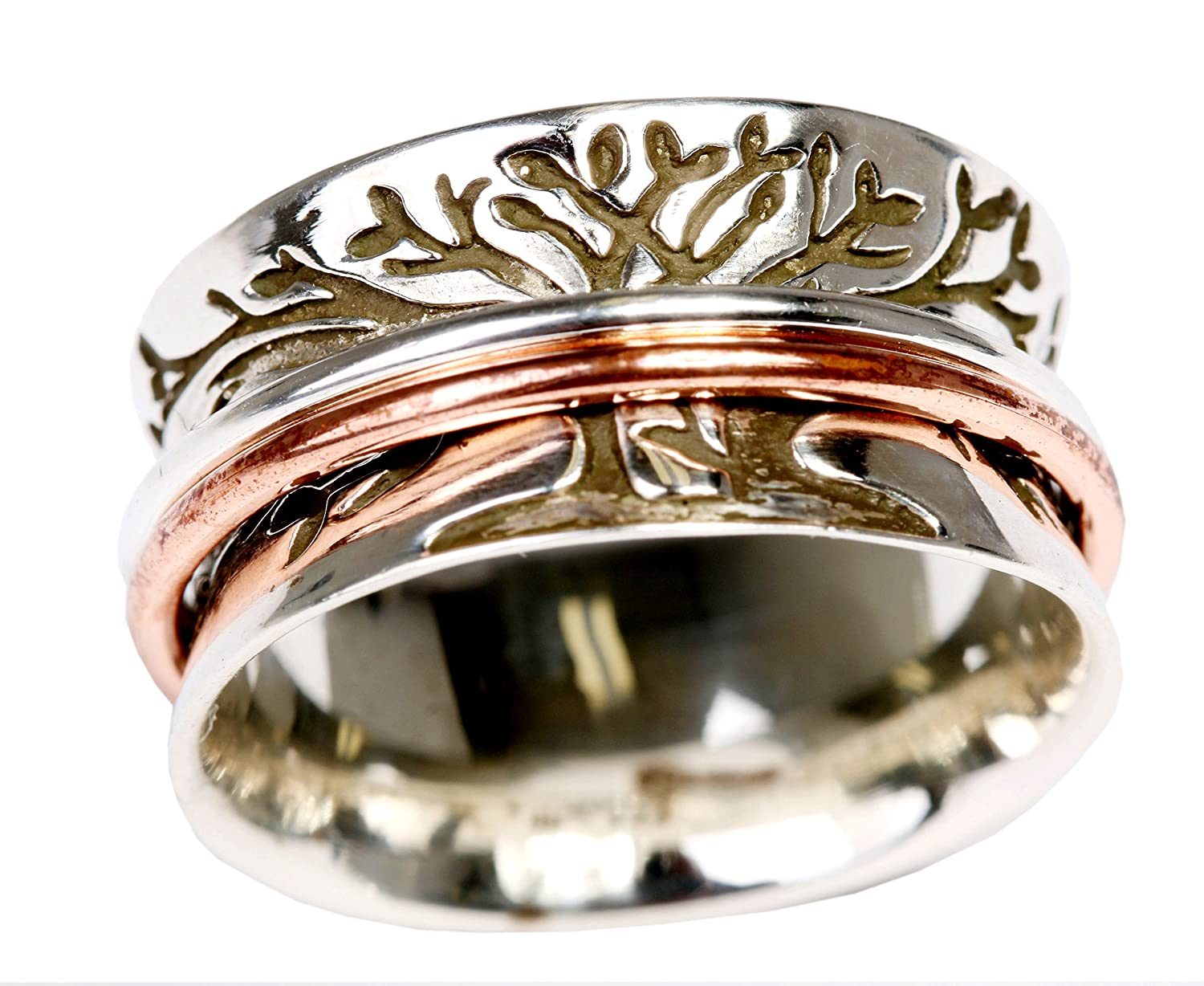Energy Stone Double Tree Meditation Spinning Ring with 1 Brass 1 Copper Spinners (SKU# SR59)