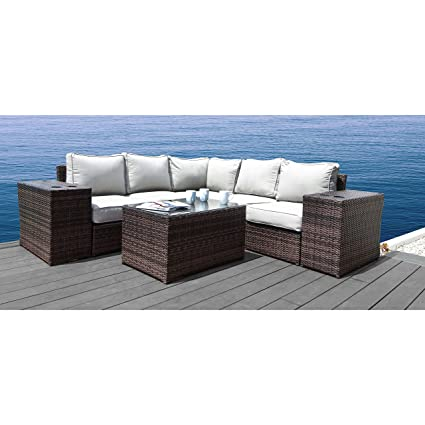 Living Source International Patio Sofas, Lucca Collection Wicker Patio Resort Grade Furniture Sofa Set for Garden, Backyard, Porch, Pool with Seat and ...