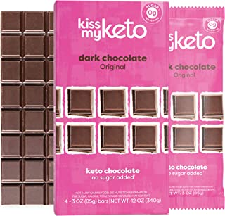 product image for Kiss My Keto Chocolate — Low Carb 100% Sugar Free Chocolate Bars | Original Plain, 8 Bars | Keto Dark Chocolate | No Soluble Corn Fiber, Stevia Sweetened, Vegan Chocolate