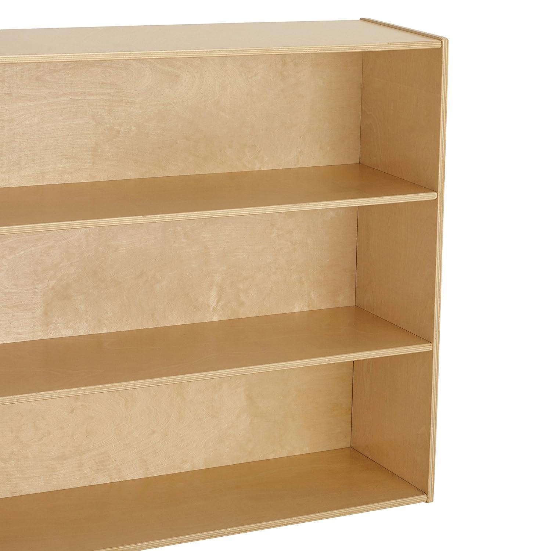 "Wood Book Shelf Organizer//Toy Storage for Kids Natural ELR-17418 24/"" Tall ECR4Kids Birch Streamline 2-Shelf Storage Cabinet with Back"