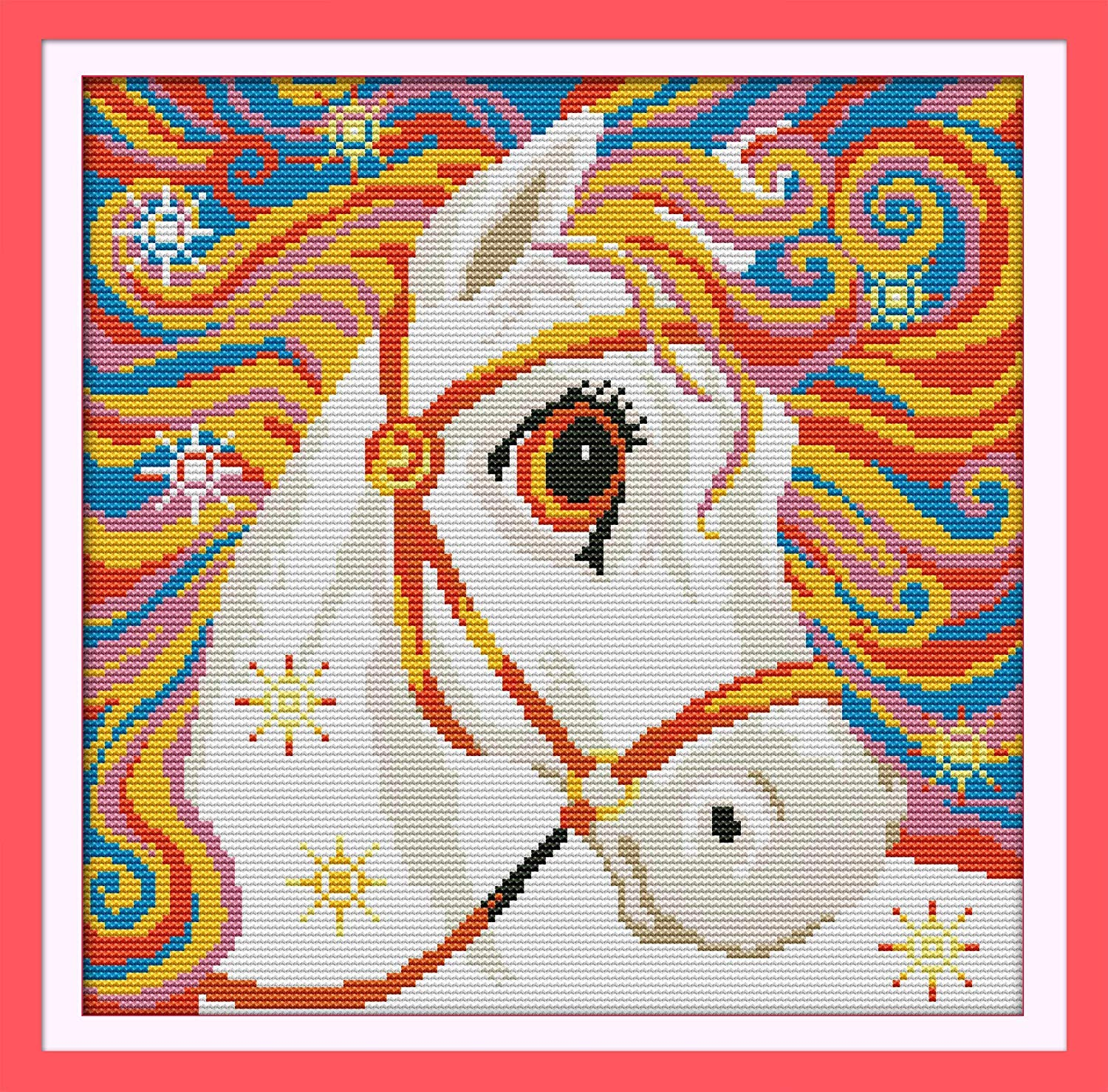 Embroidery Needlepoint Kits Unicorn in Garden Cross Stitch Stamped Kits Pre-Printed Cross-Stitching Starter Patterns for Beginner Kids or Adults