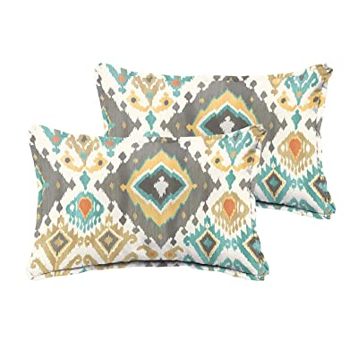 "Humble and Haute Selena Grey Aqua Ikat Indoor/Outdoor Flange Lumbar Pillows (Set of 2) 12"" x 24"" : Garden & Outdoor"