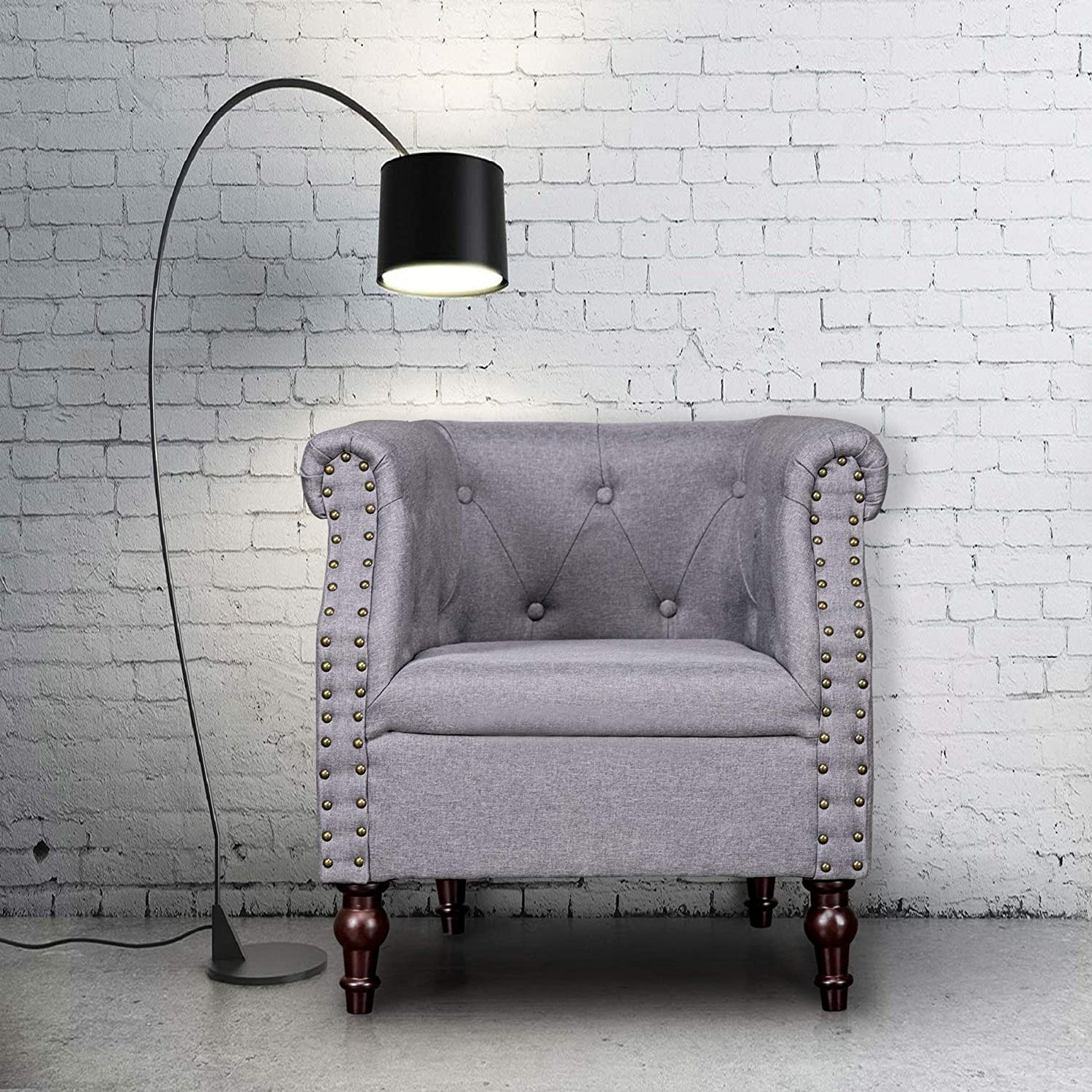 Amazon com furniture arm chair club chair tufted accent chair living room leisure single sofa upholstered room chair with rivets suit bedroom home office