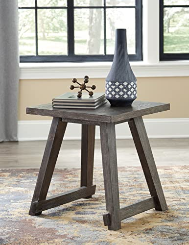 Ashley Furniture Signature Design – Harpoli Contemporary Square End Table – Dark Brown