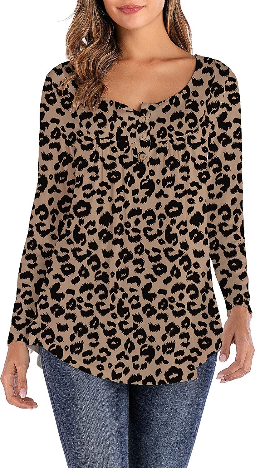 Aokosor Ladies Tops Long Sleeved Round Neck Tunic Tops